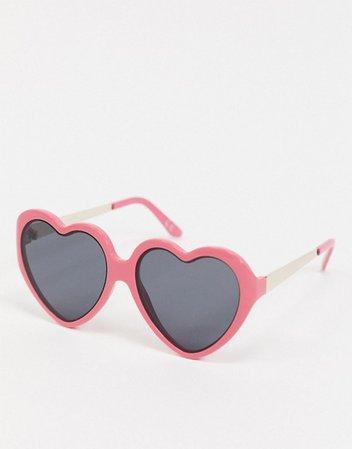 ASOS DESIGN heart sunglasses in hot pink | ASOS