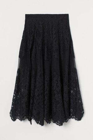 Cotton-blend Lace Skirt - Black