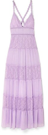 Alice Olivia - Amena Tiered Lace And Crepon Maxi Dress - Lilac
