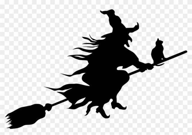 Witch, Evil, Scary, Spooky, Halloween, Flying, Cat - Flying Witch Silhouette Png, Transparent Png - 960x631 (#763370) - PinPng