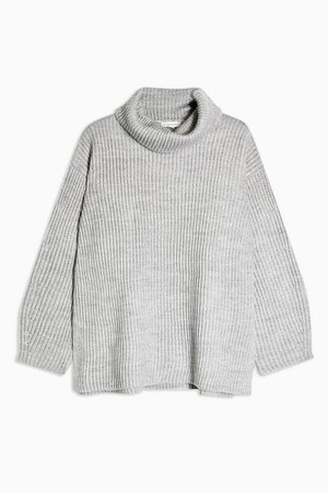 Longline Roll Neck Jumper With Wool | Topshop grey