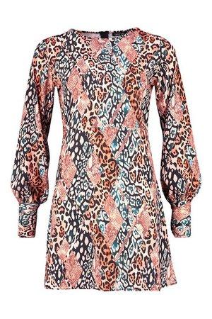 Animal Print Puff Sleeve Shift Dress | boohoo