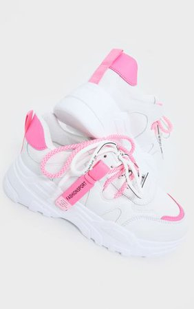 White Contrast Pink Laces Chunky Trainers   PrettyLittleThing