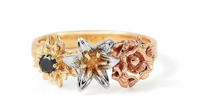 Bernard James Flora Posy Bouquet 14K Gold Ring