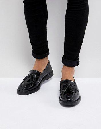 ASOS Tassel Loafers in Black Leather | ASOS