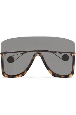 Gucci | Visor square-frame gold-tone and acetate sunglasses | NET-A-PORTER.COM