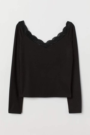 Off-the-shoulder Top - Black