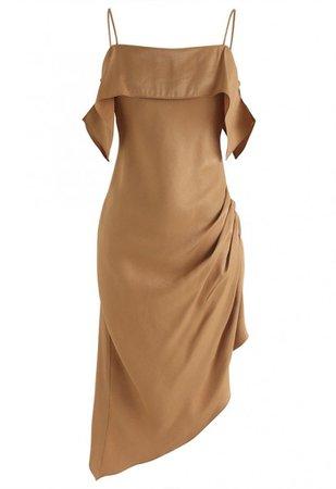 Passionate Latin Asymmetric Cami Dress in Tan - Party - DRESS - Retro, Indie and Unique Fashion