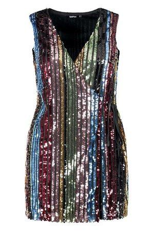 Plus Rainbow Sequin Wrap Dress   Boohoo