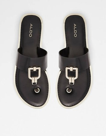 ALDO Tatyx hardware toe post flat sandals in black | ASOS