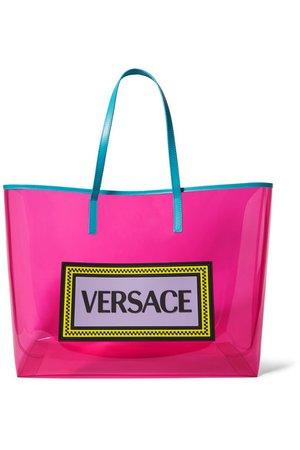 Versace | Appliquéd leather-trimmed vinyl tote | NET-A-PORTER.COM