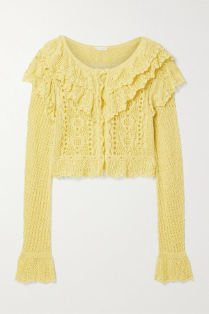 Yellow Seraphine cropped ruffled crocheted cotton cardigan | LoveShackFancy | NET-A-PORTER