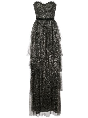 Marchesa Notte, Ruffled Tiered Strapless Gown