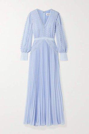 Self Portrait Grosgrain And Corded Lace-trimmed Plisse-chiffon Gown - Sky blue
