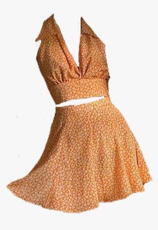 orange yellow set skirt top dress