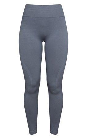 Grey Basic Detail Seamless High Waist Gym Legging   PrettyLittleThing USA