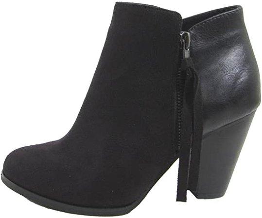 Amazon.com | Soda Women's Ages Tassel Zip Chunky Heel Bootie | Ankle & Bootie