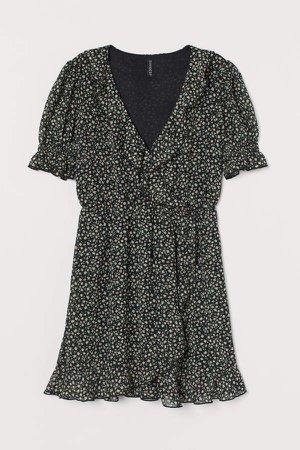 Puff-sleeved Ruffled Dress - Black