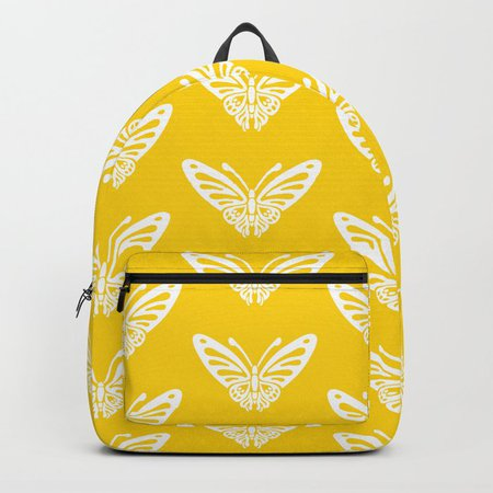 Yellow Butterfly Graphic Backpack