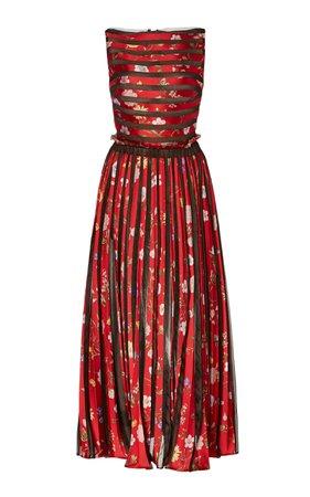 Oscar de la Renta Pleated Floral-Patterned Midi Dress
