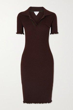 Ruffled Ribbed Wool Dress - Brown
