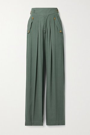 Felix Crepe Wide-leg Pants - Gray green