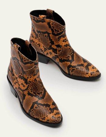 Allendale Ankle Boots - Camel Snake | Boden US