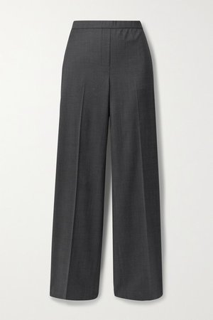 Wool Wide-leg Pants - Dark gray