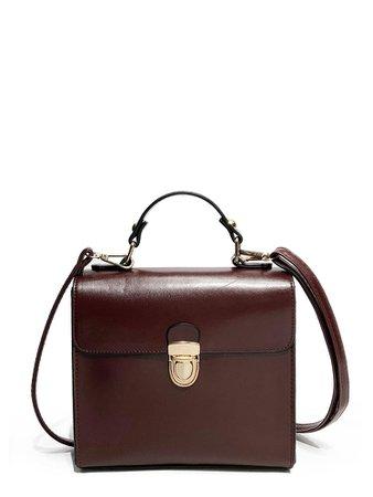 Push Lock Square Satchel Bag