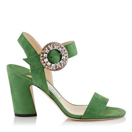 Green block heel slingback pumps with crystal buckle