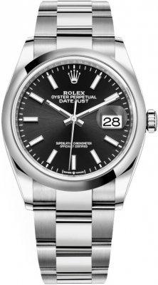 126200 Black Index Oyster Rolex Datejust 36mm Stainless Steel Midsize Watch
