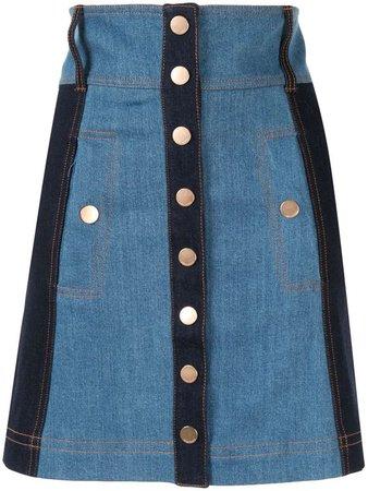 ALICE MCCALL Electric Memories High Rise Denim Skirt In Blue