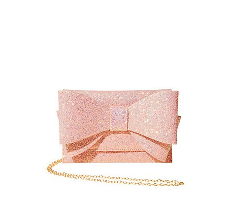 Pink glitter clutch with large bow