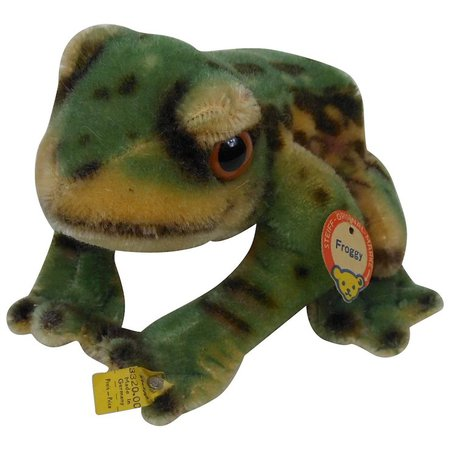 1950's Large Steiff FROGGY Frog with Chest Tag, Raised Script Button & : Fun City   Ruby Lane
