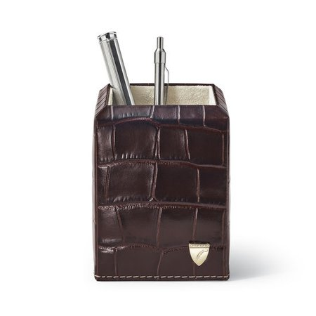 Square Pen Pot in Amazon Brown Croc | Aspinal of London