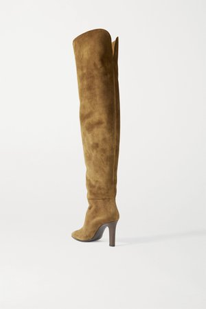 Brown suede over the knee boots