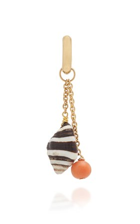 Haute Victoire 18K Gold Coral and Shell Earring