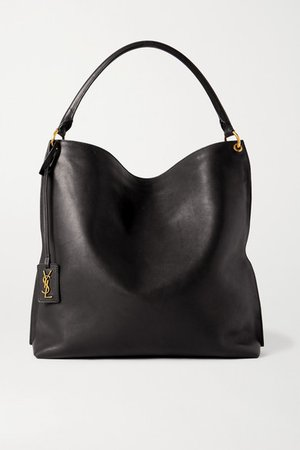 Tag Leather Tote - Black