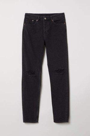 Boyfriend Low Ripped Jeans - Black