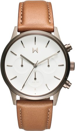 Duet Chronograph Leather Strap Watch, 38mm
