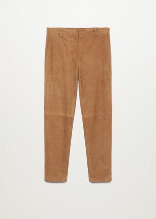 Straight-fit leather pants - Women | Mango USA