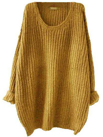 SweatyRocks Women's Embroidered Flower Oversized Knit Casual Loose Pullover Sweater (Medium, Mustard) at Amazon Women's Clothing store: