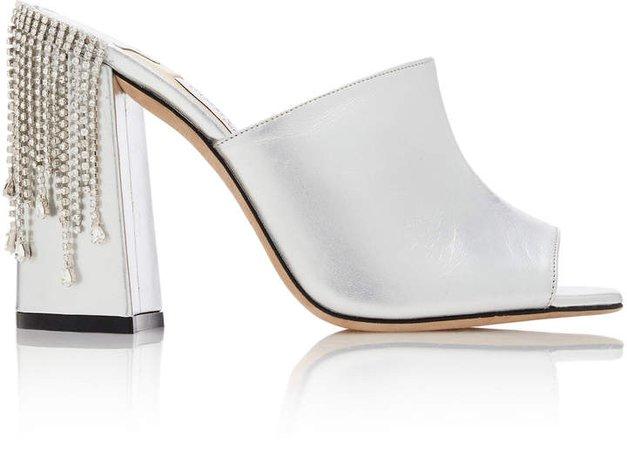 Baia Crystal-Embellished Metallic Leather Sandals