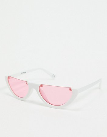 Jeepers Peepers cat eye sunglasses in white with pink lens | ASOS