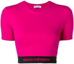 Pink logo cropped sports top from Paco Rabanne