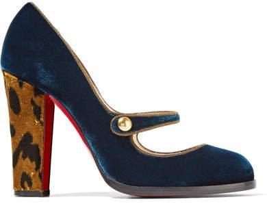 Top Street 100 Velvet Mary Jane Pumps - Storm blue