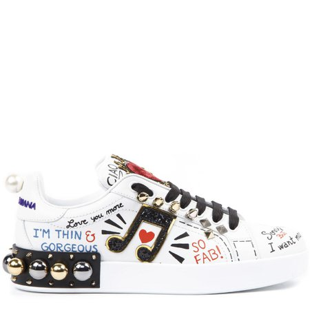 Dolce & Gabbana White Leather Portofino Sneakers With Applications