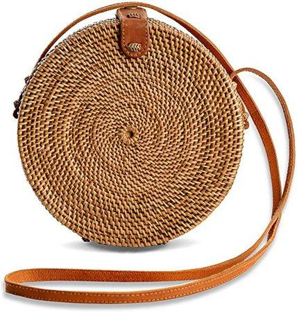 Rattan Bags for Women - Handmade Wicker Woven Purse Handbag Circle Boho Bag Bali (Round Big): Amazon.co.uk: Shoes & Bags