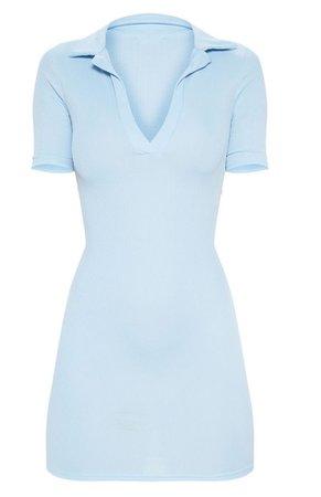 Baby Blue Ribbed Polo Shirt Dress