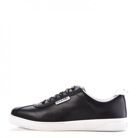 CHANEL Calfskin CC Sneakers 39.5 Black 307333